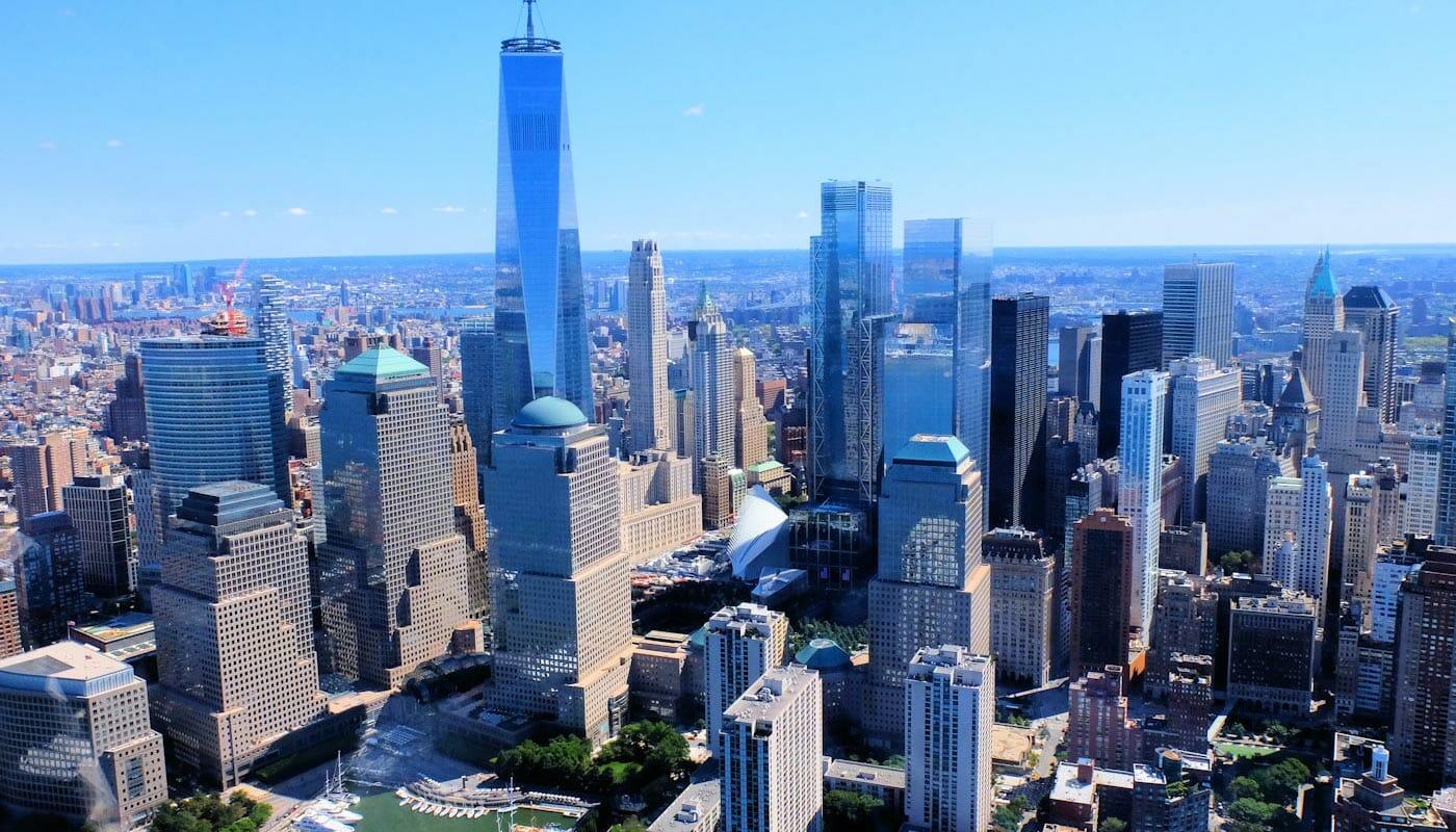 Lower Manhattan et le Financial District à New York - Vue aérienne