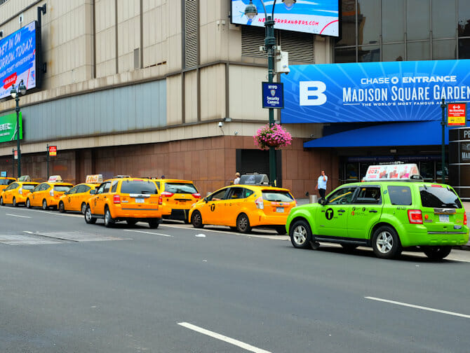 Taxis verts et taxis jaunes New York