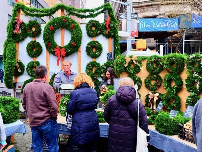 Les marchés de New York - Christmas Wreaths at Union Square
