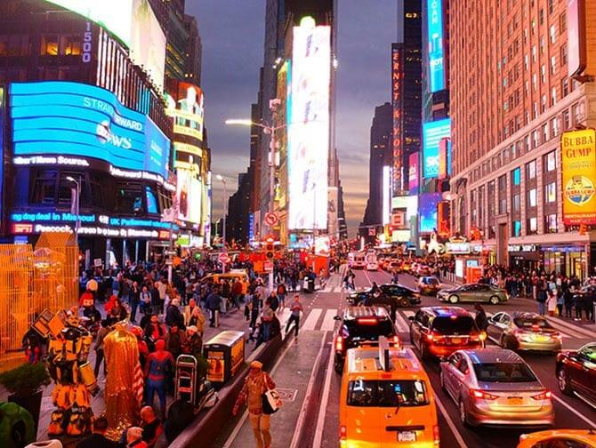 Big Bus a New York - Times Square de nuit