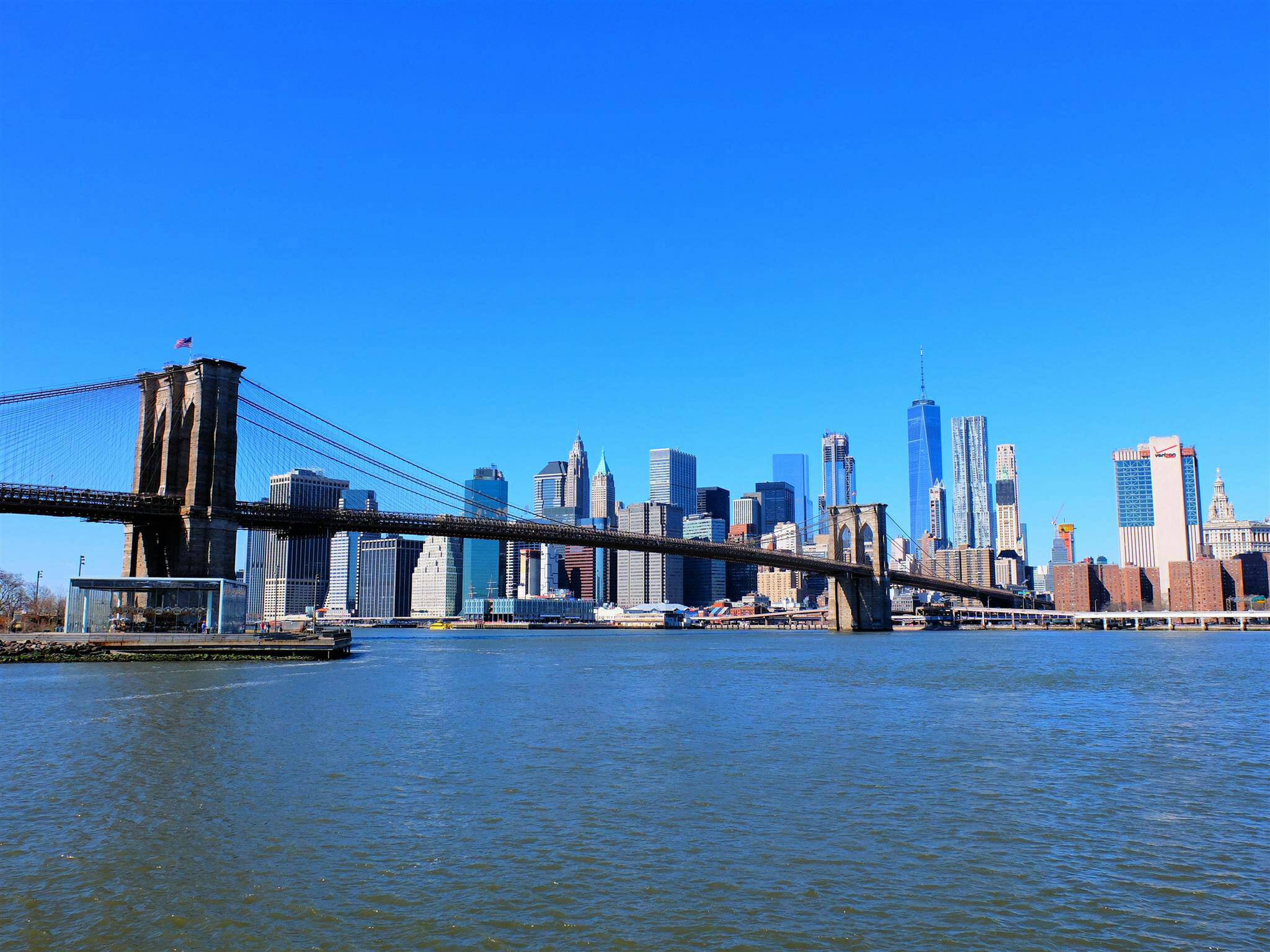 Brooklyn Bridge and NYC Skyline High Quality Wallpaper