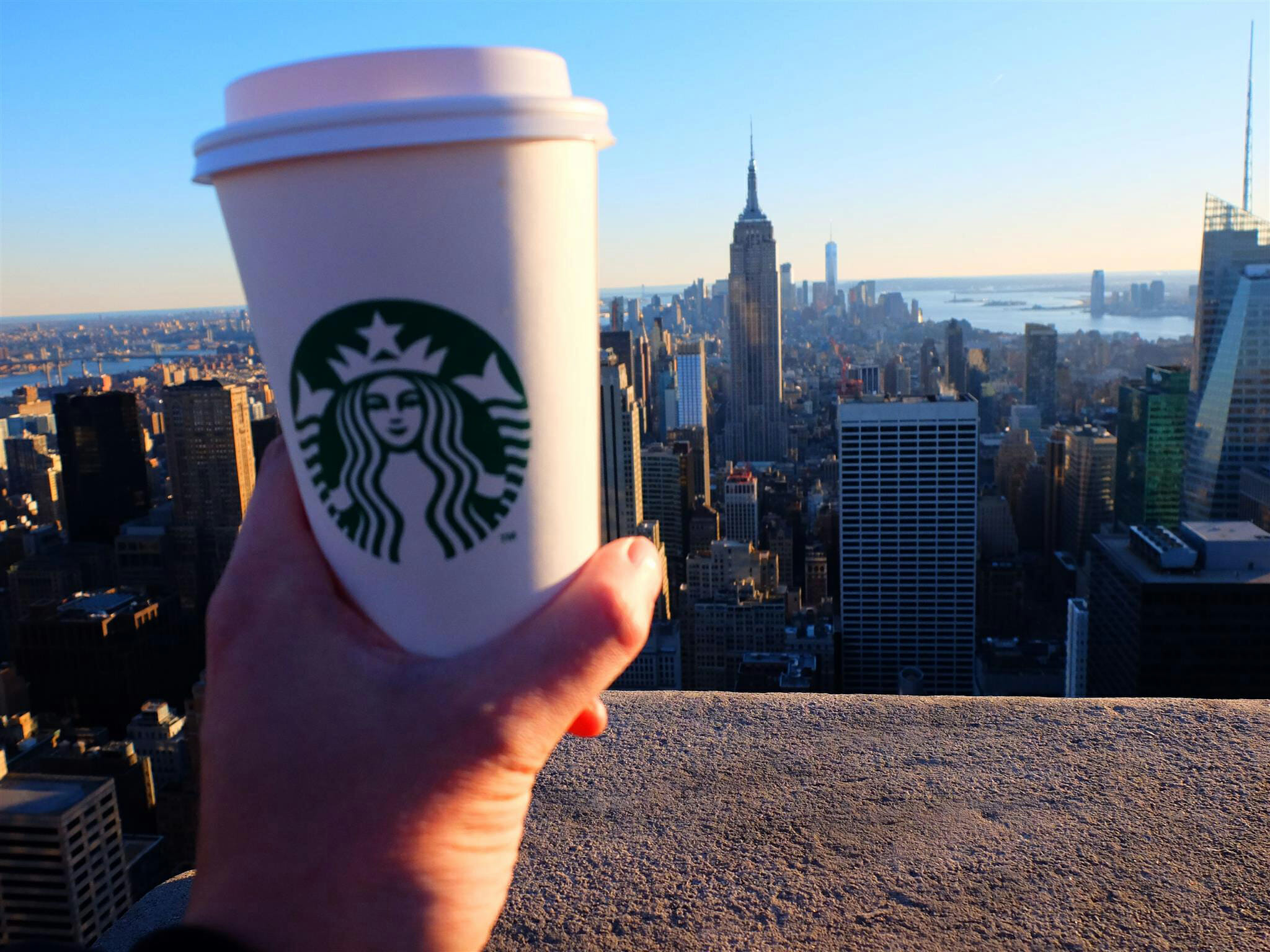 Starbucks and Empire State Building High Quality Wallpaper