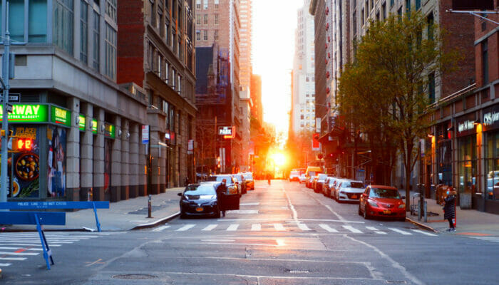 Manhattanhenge Vue de la rue